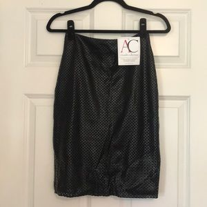 NWT Perforated Black Faux Leather Skirt